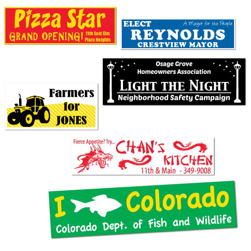Custom printed durable vinyl bumper stickers customized with your logo artwork or design