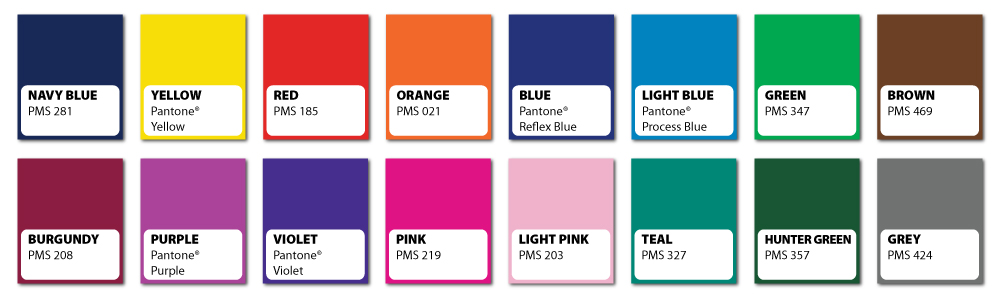Standard Colors Available for Custom Printed Stickers