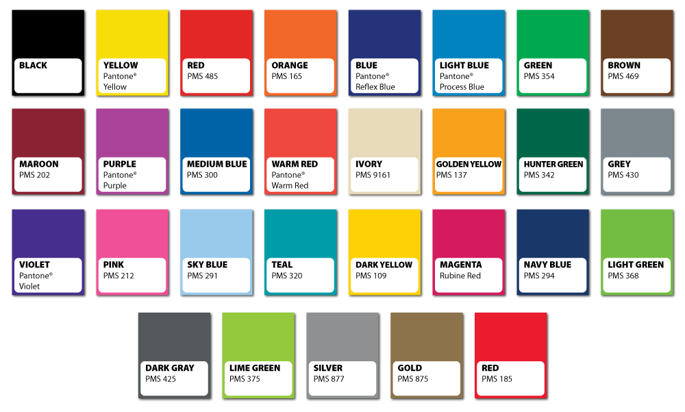 Standard Colors Available for Custom Printed Foil Stickers