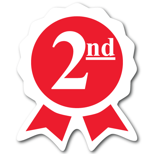"""""""Second Place"""" Ribbon Award Stickers"""