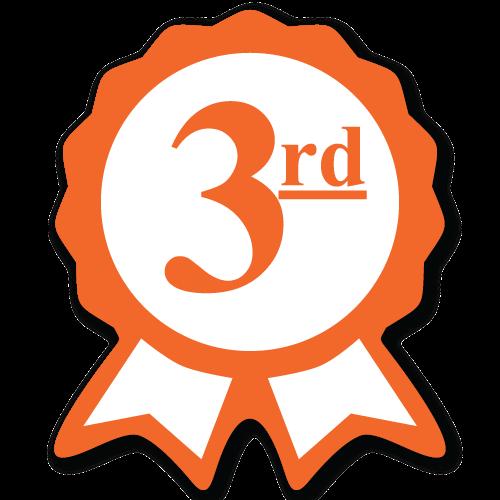 """""""Third Place"""" Ribbon Award Labels"""