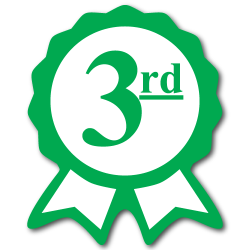 """Third Place"" Ribbon Green Award Stickers"