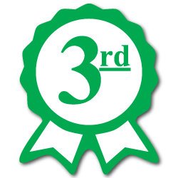 """Third Place"" Ribbon Green Award Stickers"