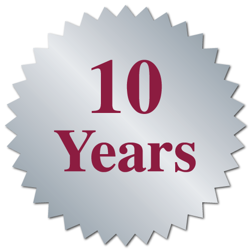"""10 Years"" Serrated Edge Stickers"