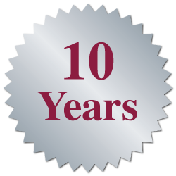 """10 Years"" Burst Circle Seal Labels"