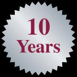 """""""10 Years"""" Burst Circle Seal Labels"""