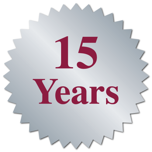 """15 Years"" Burst Circle Seal Labels"