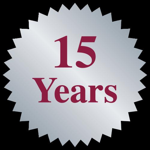 """""""15 Years"""" Burst Circle Seal Labels"""