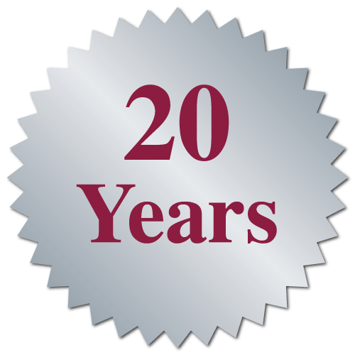 """20 Years"" Serrated Edge Stickers"