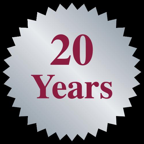 """""""20 Years"""" Burst Circle Seal Labels"""