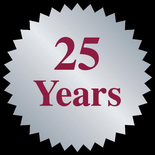 """""""25 Years"""" Burst Circle Seal Labels"""