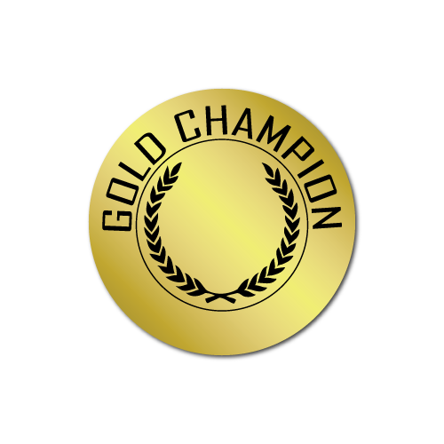 Gold Champion Award Stickers
