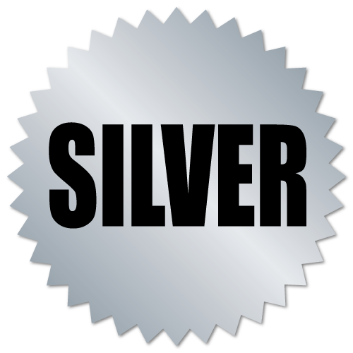 2 Inch Burst Silver Award Labels on Metallic Foil, Roll of 100