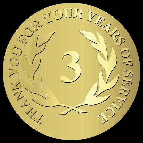 3 Years Embossed Award Stickers