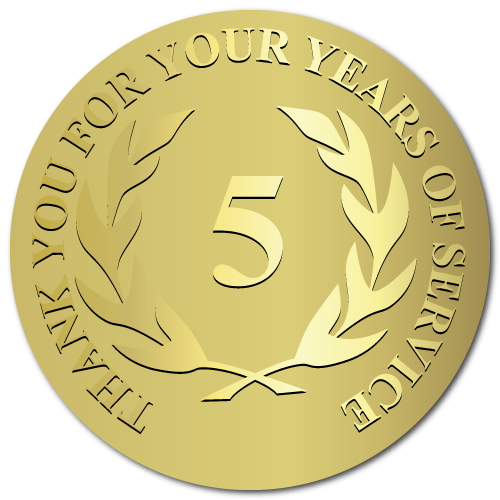 5 Years Embossed Award Stickers