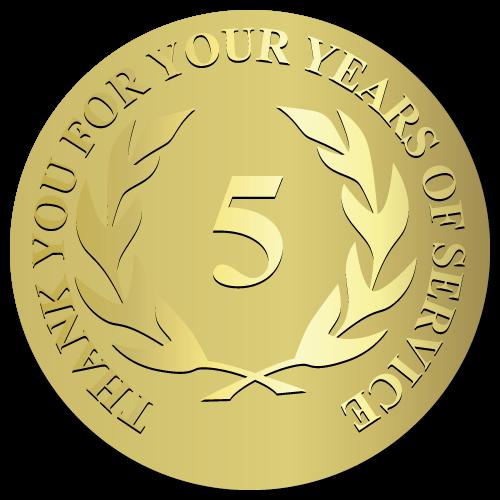 5 Years Embossed Award Stickers