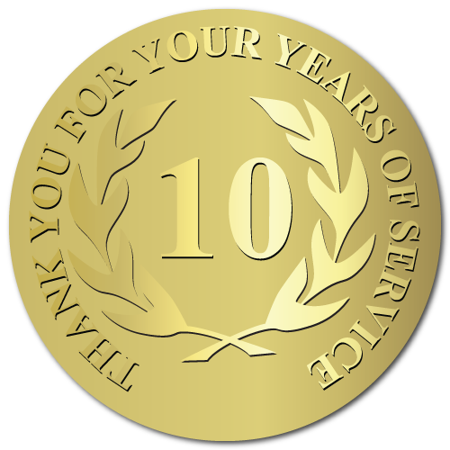 10 Years Embossed Award Stickers