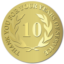 10 Years of Service, Foil Stamped  & Embossed Award Labels