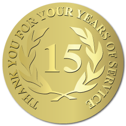 15 Years of Service, Foil Stamped  & Embossed Award Labels