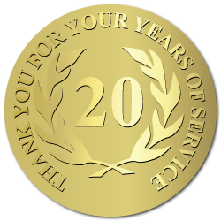 20 Years of Service, Foil Stamped  & Embossed Award Labels