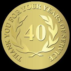 40 Years Embossed Award Stickers