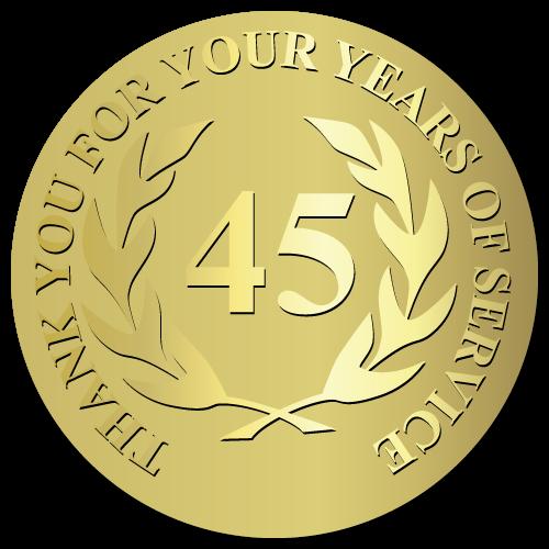 45 Years Embossed Award Stickers