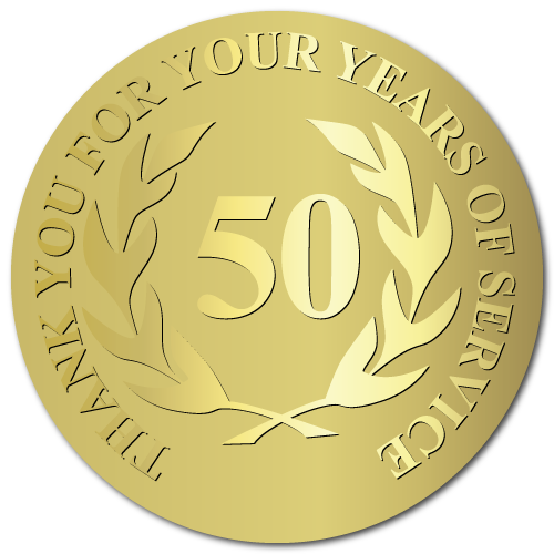 50 Years Embossed Award Stickers