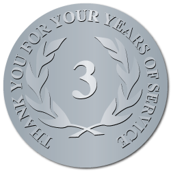 3 Years Embossed Award Stickers