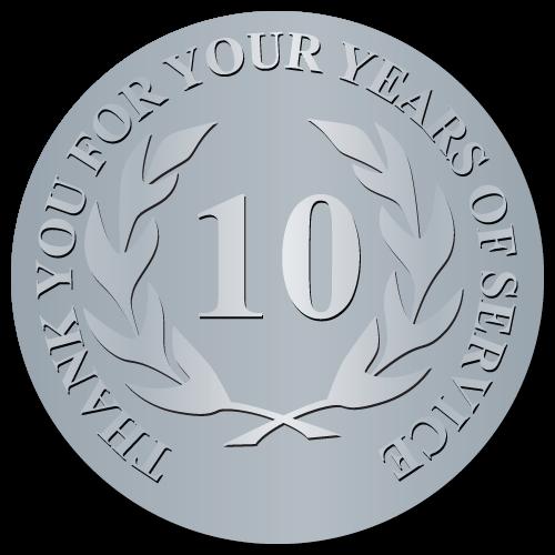 10 Years Embossed Award Stickers