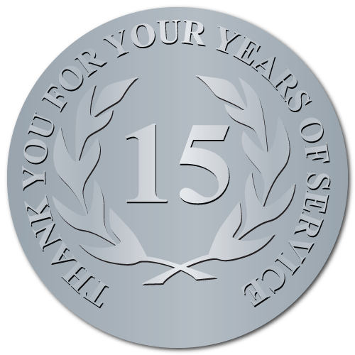 15 Years Embossed Award Stickers