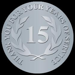 15 Years Embossed Award Stickers