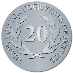 20 Years Embossed Award Stickers