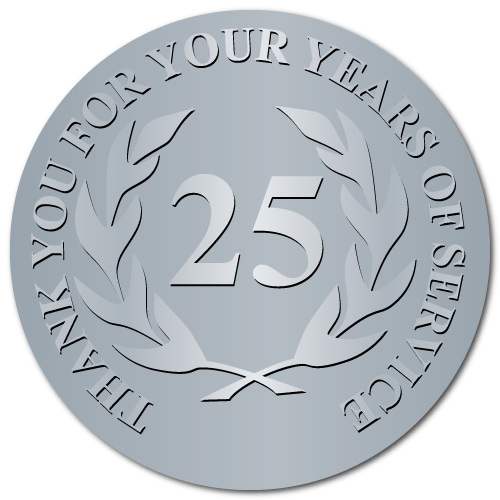 25 Years Embossed Award Stickers