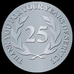 25 Years Embossed Award Stickers