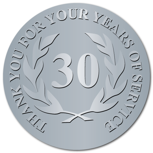 30 Years Embossed Award Stickers