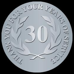 30 Years Embossed Award Stickers