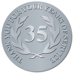 35 Years Embossed Award Stickers