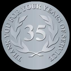35 Years Embossed Award Stickers