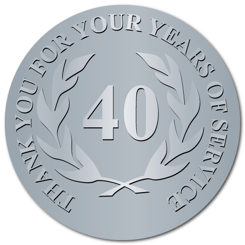 40 Years Embossed Award Stickers