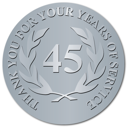45 Years Embossed Award Stickers
