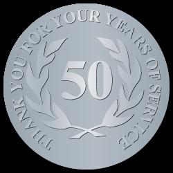 50 Years Embossed Award Stickers