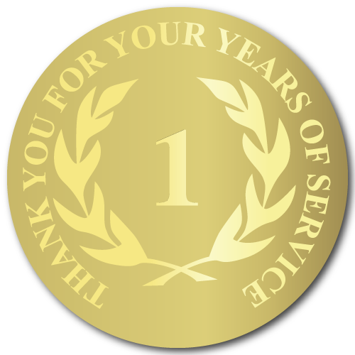 1 Year Gold Foil Stamped Award Stickers