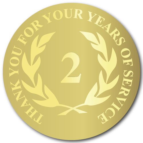 2 Years of Service, Foil Stamped Seals, 0.75 Inch Circles, Pack of 50