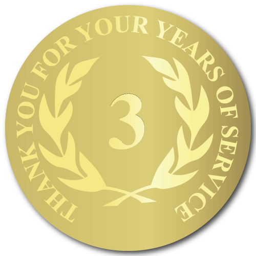 3 Years Gold Foil Stamped Award Stickers