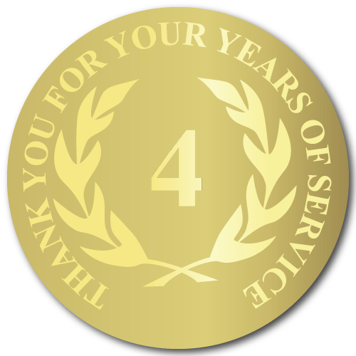 4 Years of Service, Foil Stamped Seals, 0.75 Inch Circles, Pack of 25