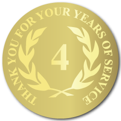 4 Years Gold Foil Stamped Award Stickers