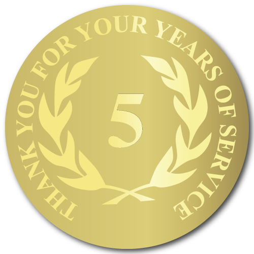 5 Years Gold Foil Stamped Award Stickers