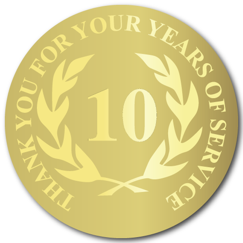 10 Years of Service, Foil Stamped Award Labels