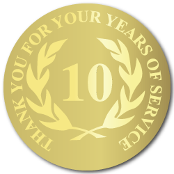 10 Years Gold Foil Stamped Award Stickers