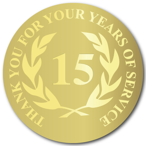 15 Years Gold Foil Stamped Award Stickers